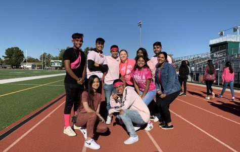 Seniors from National Honor Society and Student Council wear pink at the Breast Cancer Awareness Walk