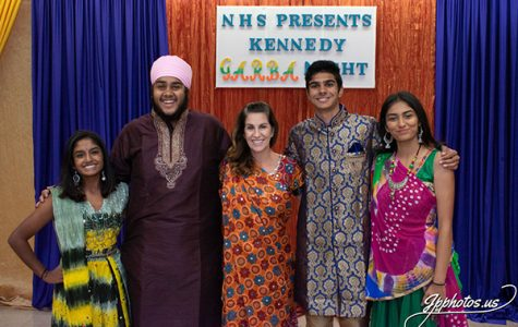 NHS officers and Mrs. Kurowsky at JFK garba night supporting the Indian culture.
