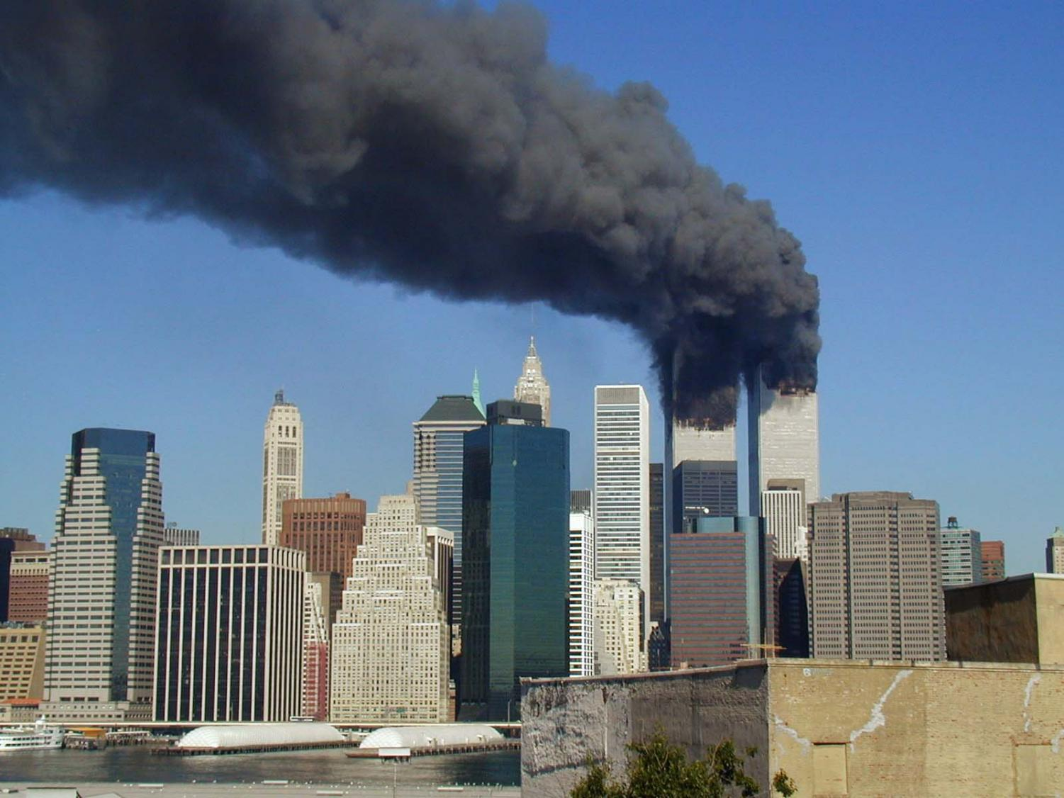 The World Trade Towers smoking in the aftermath of the attacks.