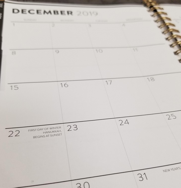 A photo of a December 2019 calendar.