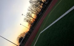 The view after baseball tryouts from the John F. Kennedy Memorial High School football field.