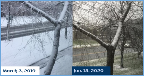A Photo depicting the difference in snowfall, almost a year apart   Photo Credit: Amal Ahmed