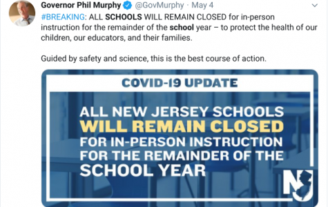 Governor Murphy announces closing of all NJ schools on Twitter.