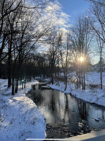 Photo taken by Gurvind Dehar of the snow covered ground and icy river during the asynchronous day.