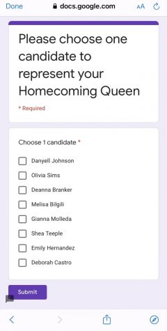 Photo 3: Courtesy of Senior class advisor The Google Form that was released for the Senior students to vote on the Homecoming Queen for 2020